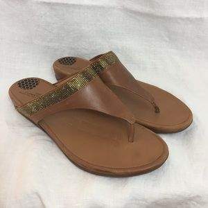 Fitflop Leather Slip On Sandals w/Crystals